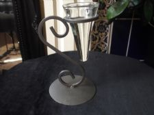 UNUSUAL CAST METAL TEALIGHT CANDLE HOLDER WITH FITTED GLASS HOLDER